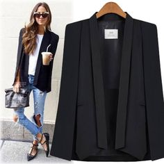 Black Lapel Cape Blazer (290 SEK) ❤ liked on Polyvore featuring outerwear, jackets, blazers, blazer jacket, pattern jacket, cape blazer, blazer cape and print jacket