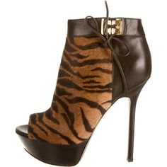 Pre-owned Sergio Rossi Platform Ankle Boots ($290) ❤ liked on Polyvore featuring shoes, boots, ankle booties, animal print, peep toe ankle booties, peeptoe booties, brown booties, brown ankle boots and platform booties