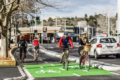 Auckland Cycleways in Nov mag- cyclist activated traffic lights at Beach Road