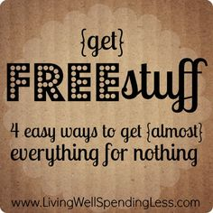 Get FREE stuff -- 4 easy ways to get (almost) everything for nothing of living well & spending zero Ways To Save Money, Money Tips, Money Saving Tips, How To Make Money, How To Get, Living On A Budget, Frugal Living, Planning Budget, Web Design