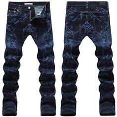 Navy Floral Print Slim Fit Emo Punk Rock Hip Hop Fashion Jeans Men SKU-11404553