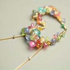 On Sale - Multi Gemstone Heart Necklace PInk Sapphire, Tourmaline, Tanzanite, Emerald, Peridot. $172.00, via Etsy.