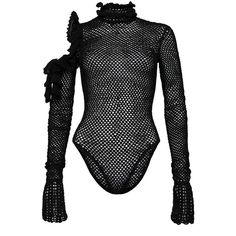 Magda Butrym     Mesh Long Sleeve Bodysuit ($1,425) ❤ liked on Polyvore featuring intimates, shapewear, tops, magda butrym and black