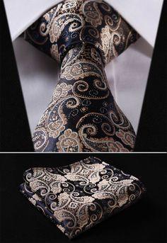 """TF2013D Gold Navy Blue Paisley Floral 3.4"""" 100%Silk Wedding Jacquard Woven Men Tie Necktie Pocket Square Handkerchief Set Suit"""
