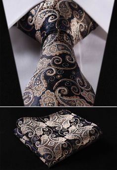 "TF2013D Gold Navy Blue Paisley Floral 3.4"" 100%Silk Wedding Jacquard Woven Men Tie Necktie Pocket Square Handkerchief Set Suit"