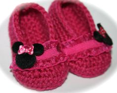 Crochet Baby shoes booties slippers ballet slippers by tweetotshop Love the Minnie Mouse button decoration.