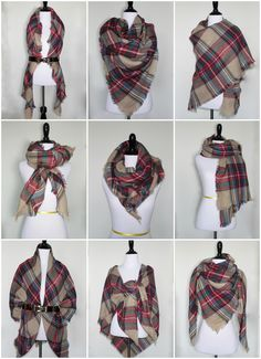 9 Ways to Style a Blanket Scarf for Petites Blanket Scarf Outfit, How To Wear A Blanket Scarf, Ways To Wear A Scarf, How To Wear Scarves, Plaid Blanket, Winter Scarf Outfit, Plaid Scarf Outfit, Scarf Tying Blanket, Diy Scarf