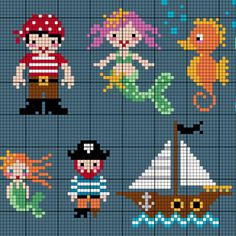 From pirates to mermaids, we'll keep you busy crafting sea-worthy characters with this cross-stitch pattern. This under-the-sea adventure is vivid, adorable, and totally arrrgggghhhh and aye aye cap'n!