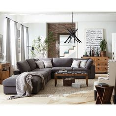 Living Room With Sectional And Coaster Furniture Serene Living Room Sectional 75 Cheap Living Room Sectional Sets. Living Room Sectional, New Living Room, Home And Living, Gray Couch Living Room, Living Room Decor With Grey Couch, Grey Living Room Furniture, Dark Couch, Charcoal Sectional, Gray Sectional