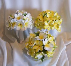 Frangipani Plumeria Posy Bouquet Real-Touch by Abloomortwo on Etsy