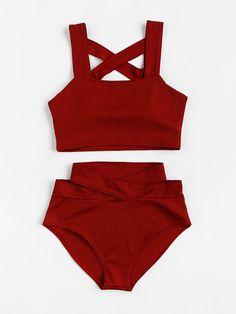 Criss Cross High Waist Bikini Set -SheIn(Sheinside)