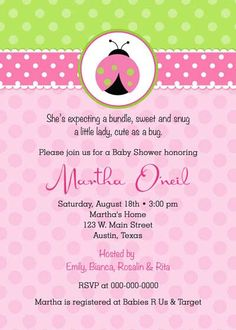 Baby Shower Invitation - Lady Bug for girl - DIY Printable - Pink. $12.50, via Etsy.