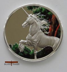 2014 Tokelau 1oz Unicorn Coloured Proof Finish Silver Bullion Coin, Beautifully made & coloured as a collectors piece with case and certificate