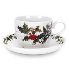 Portmeirion~Holly and Ivy cup and saucers is so pretty and perfect  for the holidays