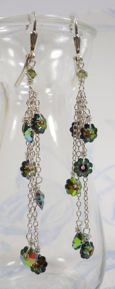 Flirt Earrings - With Marguerite Swarovski Crystal Flowers in Fab Vitrail and Sterling Silver by SLCDesignsUK
