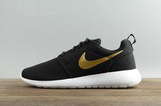 490fee57c2e52 Genuine Nike Roshe Run One 844994-996 Black Noir Golden 2018 Unisex Running  Shoes Youth