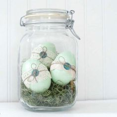 """The hunt for the prettiest—€""""and simplest—€""""eggs is officially over. This ultimate spring-time table piece is basically a matter of painting, gluing on ribbon, and sticking in a jar."""