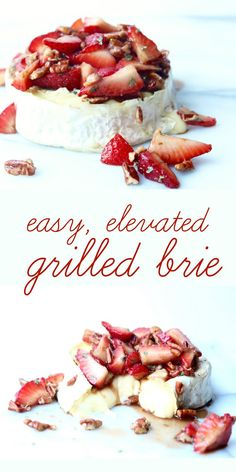 grilled brie with strawberries and soy balsamic glaze is an easy cheesy summer appetizer to serve a crowd! Appetizers For A Crowd, Appetizers For Party, Appetizer Recipes, Snack Recipes, Cooking Recipes, Dinner Recipes, Healthy Recipes, Fall Recipes, Cheese Recipes