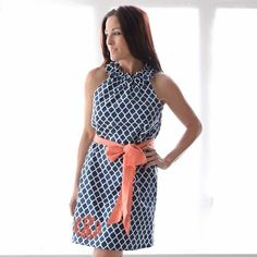 Swoon! Love this Ladies Navy Lattice Coral Sash Ruffle Neck Dress I discovered at lollywollydoodle.com and for only $43! Click the image above to get a $5 off coupon code for your next order!