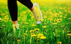 Yellow Converse tiptoeing through the dandelions