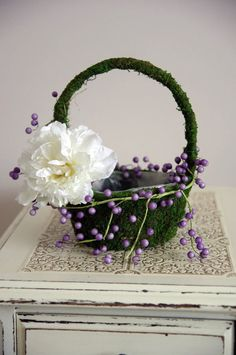 Moss Flower Girl Basket - Rustic floral