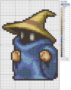 Black Mage from Final Fantasy free cross-stitch pattern on @deviantART