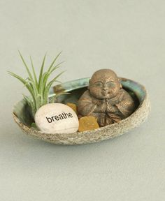 "Inspirational ""Breathe"" Terrarium with Buddha and Abalone Shell"