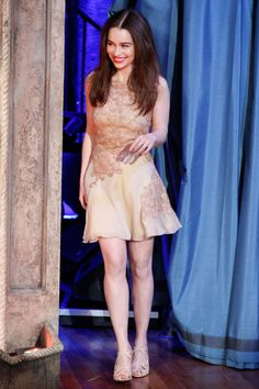 April 2013 at an appearance on Late Night with Jimmy Fallon wearing Versace