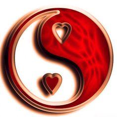 Heart in ying/yang Arte Yin Yang, Yin Yang Art, I Love Heart, With All My Heart, Jing Y Jang, Foto Logo, Grenade, Heart Art, Shades Of Red