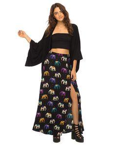Marla Maxi Skirt in Elephant Multi by Motel at Motel Rocks - Motel Rocks
