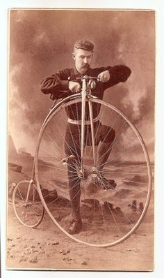Very Antique Man with High Wheel Bicycle 1881 New York US Cabinet Photo | eBay
