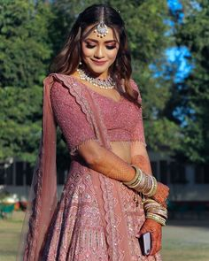 This Bride's Rouge Pink Engagement Look Will Leave You Amazed! Indian Bridal Outfits, Indian Bridal Fashion, Indian Bridal Wear, Indian Designer Outfits, Indian Wear, Designer Dresses, Indian Lehenga, Indian Gowns, Indian Attire