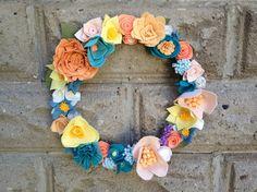 Custom Felt Floral Wreath by MillStreetMakes on Etsy