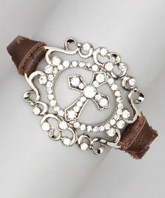 Silver & Brown Cross Medallion Bracelet