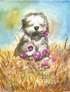 Oil Painting Old English Sheepdogs | Animals Art, Watercolor, Carole Clark, Old English Sheep Dog, 2007