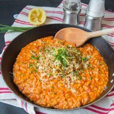 Creamy Tomato Risotto with Crispy Garlic Crumbs