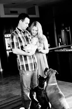 Newborn family pic with dogs (they're family too)