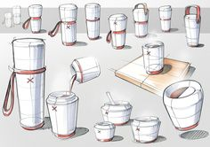 Sketching Digitale Skizzen auf Behance Making your apartment furniture livable Article Body: Wheneve Sketch Inspiration, Design Inspiration, Bottle Drawing, Industrial Design Sketch, Industrial Design Portfolio, Object Drawing, Water Bottle Design, Cup Design, Design Lab