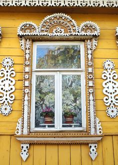 Decorative Russian Window. Woodwork. Dacha, cabin. Ancient architecture. photography. Mustard. Lace. pink flower Russia. 5x7 print. $10.00, via Etsy.