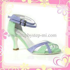 Sandalo in camoscio lilla e verde acqua #stepbystep #scarpedaballo #danceshoes #salsa #bachata #latinshoes