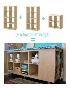 Great cutting table!! Note the sewing machine storage! Clever hack of IKEA Expedit Shelving units into table.