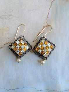 Vintage altered assembled ooak rhinestone earrings by thejunkdiva, $24.00