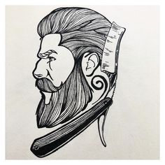 Going through some old drawings might have to put pen to pad again. Barber King, Beard Logo, Barber Tattoo, Barber Shop Decor, Barbershop Design, Best Beard Styles, Hair Sketch, Human Drawing, Fall Wallpaper