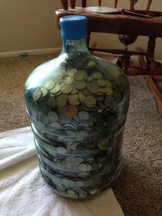 A Water Jug Full Of Change It Will Take About 25 Years To Get It Full 15 000 00 Money Challenge Money Jars Money Saving Plan