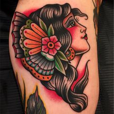64 Trendy ideas womens face tattoo old school Traditional Tattoo Woman Face, Traditional Gypsy Tattoos, Traditional Tattoo Old School, Traditional Tattoo Design, Traditional Tattoo Portrait, Old School Tattoo Motive, Old School Tattoo Designs, Head Tattoos, Body Art Tattoos