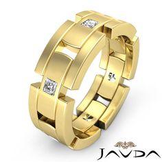 Diamond Men's Block Link Eternity Wedding Band 14k Gold Yellow 9mm Ring 0.6Ct. Men's Diamond Wedding Bands. 3 - 5 Diamonds Wedding Band. Bevel Edge Wedding Band. Classic Wedding Band.