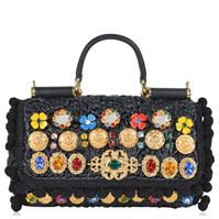 DOLCE AND GABBANA Sicily Mini Raffia Bag
