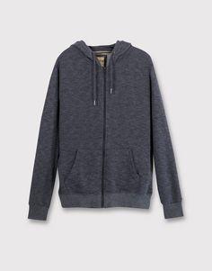 Pull&Bear - hombre - sudaderas - chaqueta básica con capucha - blanco roto - 09590500-I2016
