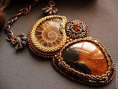 """Купить Кулон""""Magic brown"""" - коричневый, кулон в аммонитом, кулон с симбирцитом, кулон на цепочке, магический камень"""