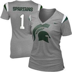 ThanksNike Michigan State Spartans Ladies Replica Football Premium T-Shirt - Gray awesome pin Michigan State Spartans, Msu Spartans, Michigan State University, Super Mom, Teacher Shirts, Modern Fashion, Sport Outfits, Football, T Shirts For Women